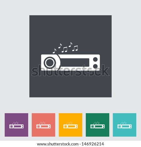Car radio flat icon. Vector illustration. - stock vector