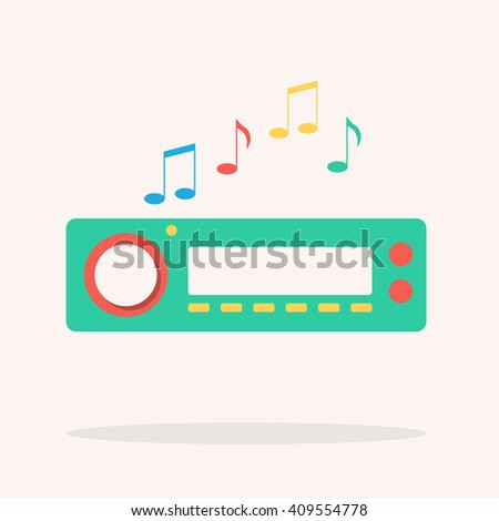 Car radio. Isolated icon. Vector illustration. Flat design - stock vector