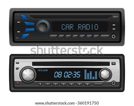 Car radio set on a white background. Vector illustration. - stock vector