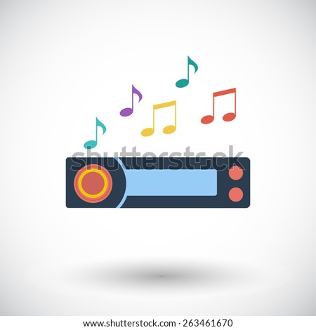 Car radio. Single flat icon on white background. Vector illustration. - stock vector