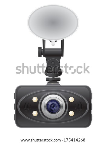 car recorder front view vector illustration isolated on white background - stock vector