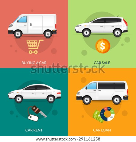 Car rent and sale design concept set with flat auto icons isolated vector illustration - stock vector