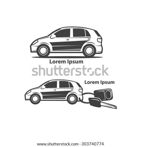 car rental or sale concept, car key with trinket - stock vector