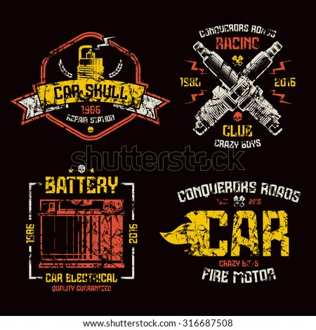 Car repair and racing emblems. Graphic design elements with shabby texture for t-shirt. Color print on black background - stock vector
