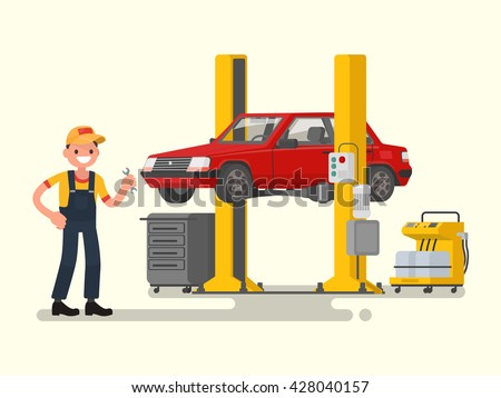 Car repair. Auto mechanic near the car lifted on autolifts. Vector illustration of a flat design - stock vector