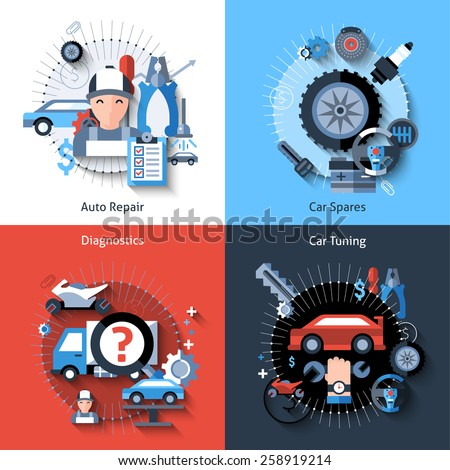 Car repair design concept set with auto spares tuning diagnostics flat elements isolated vector illustration - stock vector