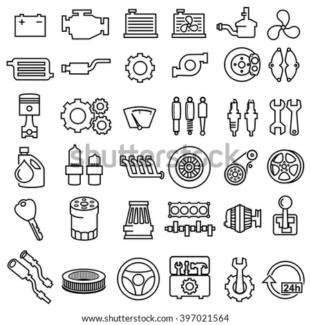 Car repair Engine outline icons vector  - stock vector