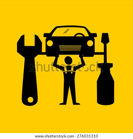 Car repair icon - stock vector