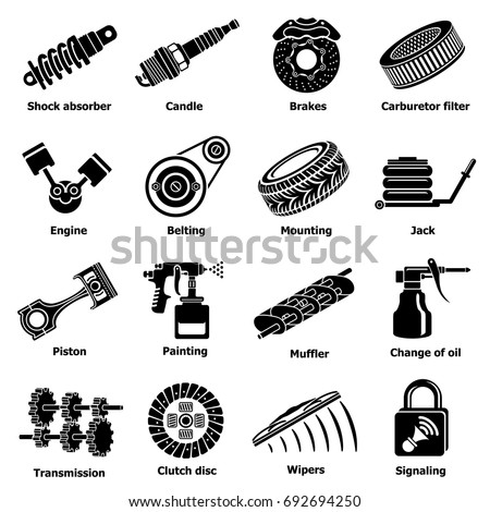 Car Repair Parts Icons Set Simple Stock Vector 692694250 - Shutterstock