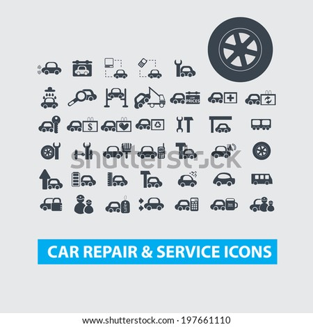 car repair, service center icons set, vector - stock vector
