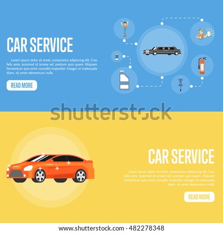 Car repair service concept flat horizontal banners. Infographics car servicing garage. Icons car parts. Car repair design concept set with auto spares. Auto service flat illustration. Car repair icon.