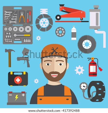 Car repair service concept with tuning diagnostics flat elements and worker man. Repair service illustration - stock vector