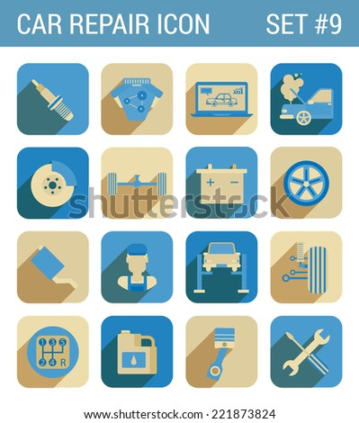 Car repair service flat icons set spark repair engine chassis suspension battery brake wheel drive tow mechanic exhaust oil gearbox web click infographics style vector illustration concept collection - stock vector