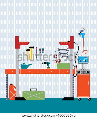 working place tools garage storage interior stock vector 405481603 shutterstock. Black Bedroom Furniture Sets. Home Design Ideas