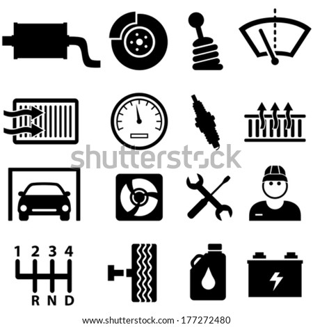 Car repair shop and mechanic icon set - stock vector