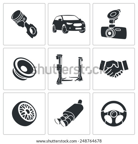 Car Repairs and Maintenance Icon set - stock vector