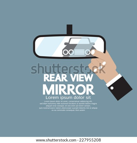 Car's Reflection In Rear View Mirror Vector Illustration - stock vector