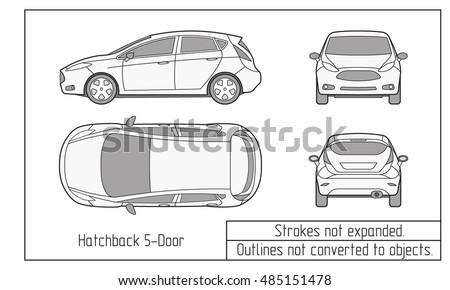 Car Sedan Suv Drawing Outline Stock Vector Shutterstock