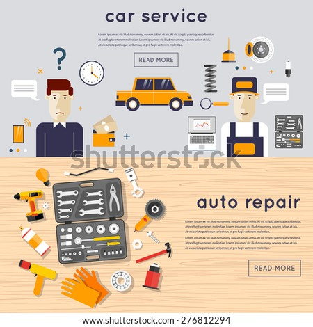 Car service. A set of tools for car repair on a wooden table. Car client and mechanic. Auto mechanic repair of machines and equipment. Car diagnostics. Vector illustration and flat icons. 2 banners. - stock vector