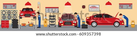 Car service and repair building or garage.Flat car repair shop.