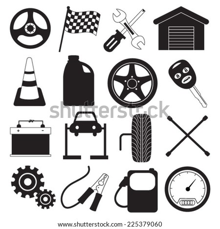 Car Service and Tool Icons - stock vector