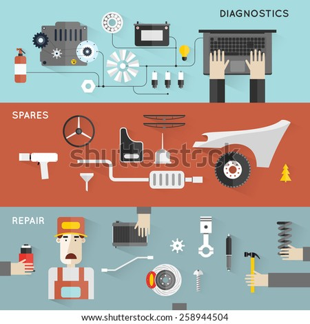 Car service. Auto mechanic repair of machines and equipment. Hands holding tools. Car diagnostics. Vector illustration and flat icons. 3 banners. - stock vector
