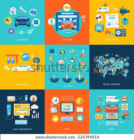 Car service car wash gas station auto diagnostics. Social media and network connection concept. On line store - stock vector