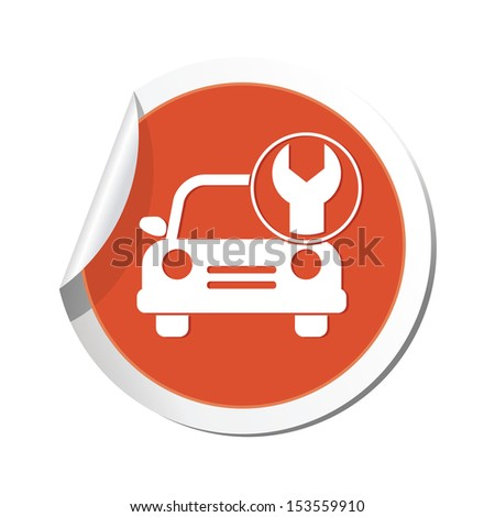 Car service. Car with tool icon. - stock vector