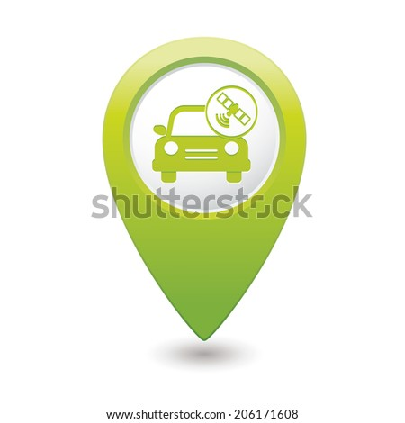 Car service. Car with wireless icon on green map pointer. Vector illustration - stock vector