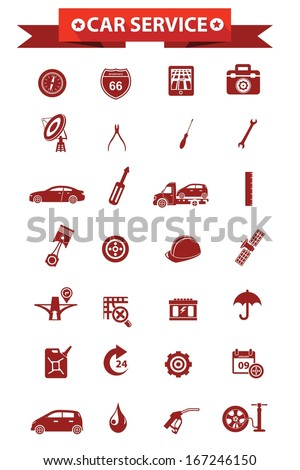 Car service concept icons,Red version,vector - stock vector