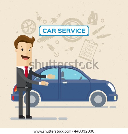 Car Service Concept with Flat Icons. Service manager or happy customer. Vector, illustration