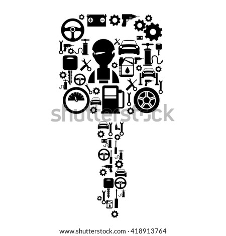 Car service decorative flat icons set in shape of key with tools machine elements isolated vector illustration