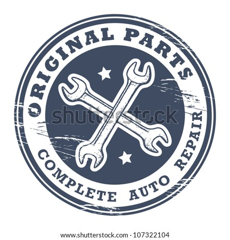 Car service garage grunge stamp, vector illustration - stock vector