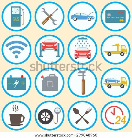 Car service icon set in flat design. Vehicle maintenance and repair. Colorful vector illustration.