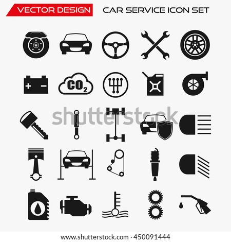 Car service icon set, vector symbols