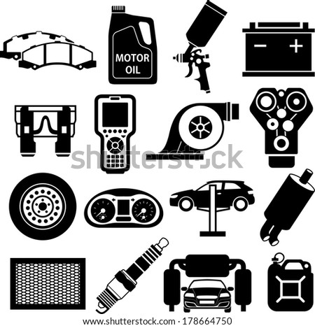 Car service icons black on white - stock vector