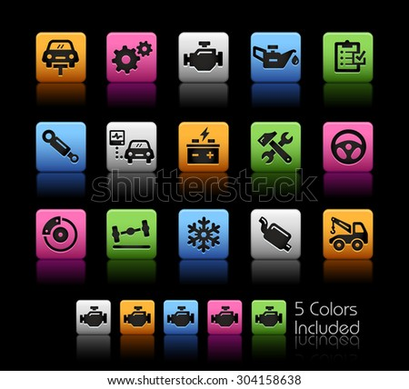 Car Service Icons // ColorBox Series ---- The Vector file includes 5 color versions for each icon in different layers -- - stock vector