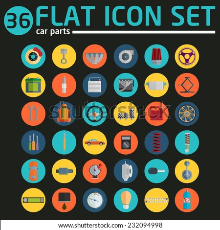 car service icons, flat icons set - stock vector