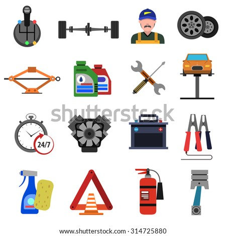 Car service icons flat set with auto repair symbols isolated vector illustration - stock vector