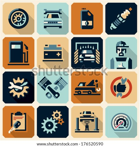 Car service icons. Flat style icons collection. - stock vector