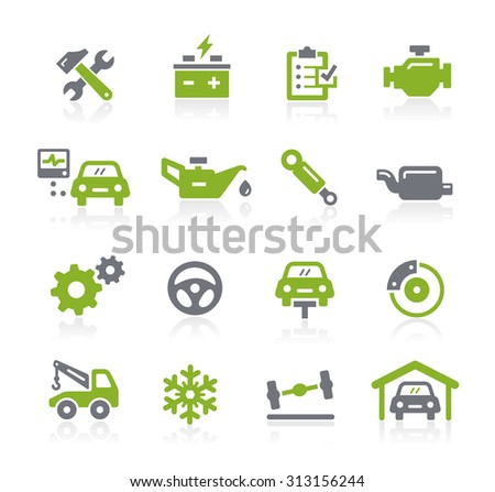 Car Service Icons // Natura Series - stock vector