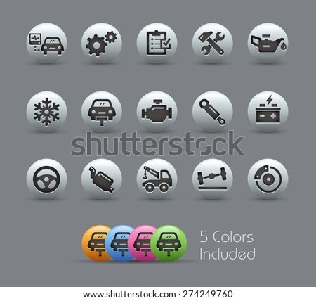 Car Service Icons. Pearly Series. It includes 5 color versions for each icon in different layers. - stock vector