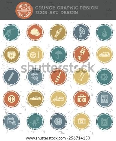 Car service icons,retro style,clean vector - stock vector