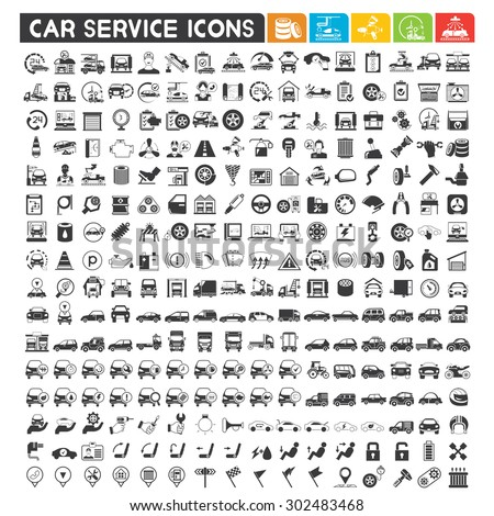 car service icons set, automotive, car production, car parts, car wash icons, vector set - stock vector