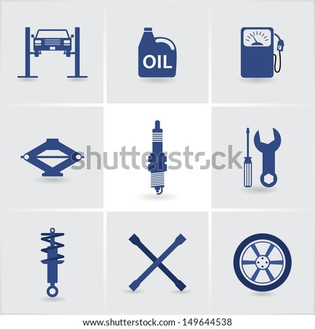 car service icons set 1. eps10 - stock vector