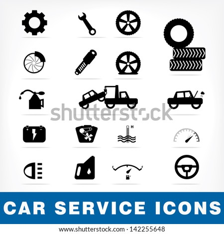 Car service icons set, Vector EPS10 - stock vector