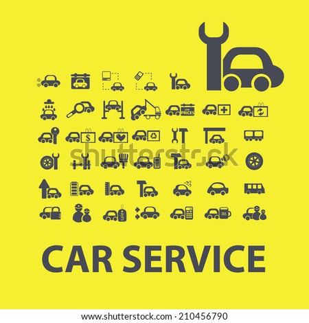 car service icons, signs, symbols, objects, illustrations set. vector - stock vector