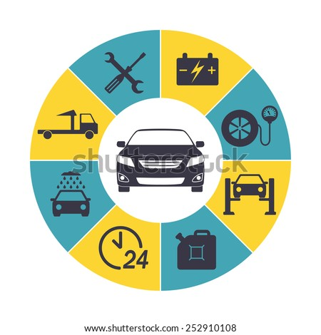Car service Infographics. Auto service and repair icons isolated in round chart. Vector illustration.  - stock vector