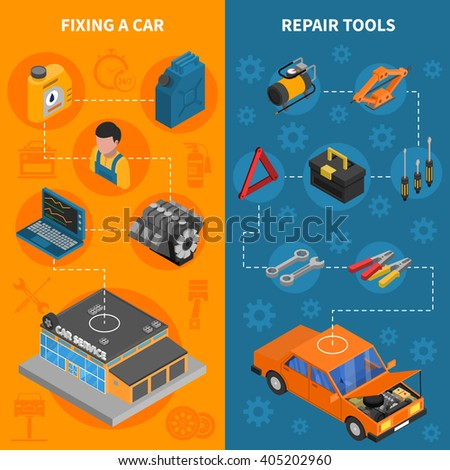 Car service isometric vertical banner set with  fixing car process and repair tools kit vector illustration - stock vector