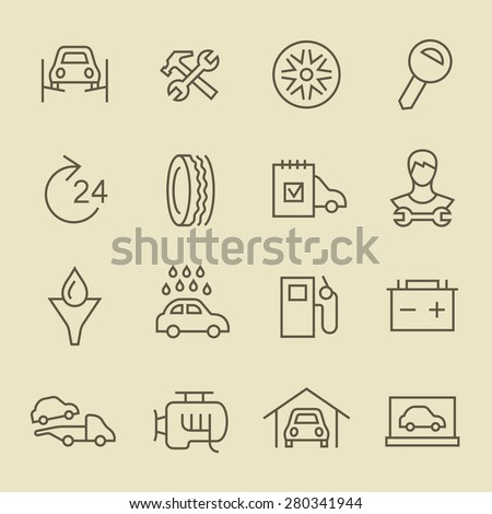 Car service line icon set - stock vector